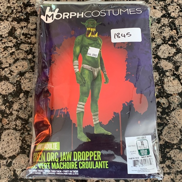 Morph costumes Adult Green Orc Jaw Dropper Morph Suit Size  Halloween New